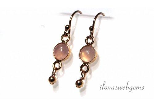 Inspiration Earrings: Rose Vermeil, Rose Quartz cabochon