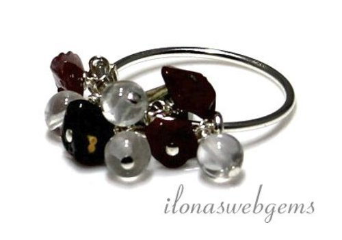 Inspiration Ring: Sterling silver, Indian Agate split beads