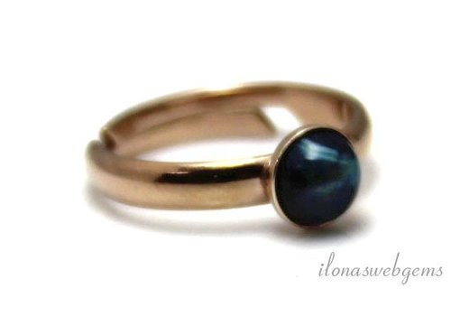 Inspiration Ring: Rose Vermeil, Blue Tiger Eye Cabochon 6mm