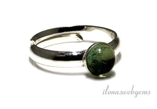 Inspiration Ring: Sterling silver, glass cabochon 6mm