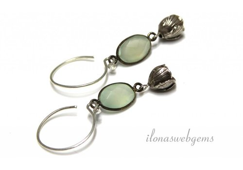 Inspiration earrings: Chalcedony, hilltribe silver