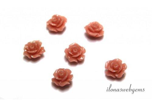 Koraal roosje zalm roze ca. 10mm (kraal)