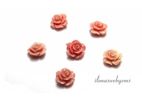 Koraal roosje licht roze ca. 10mm (kraal)