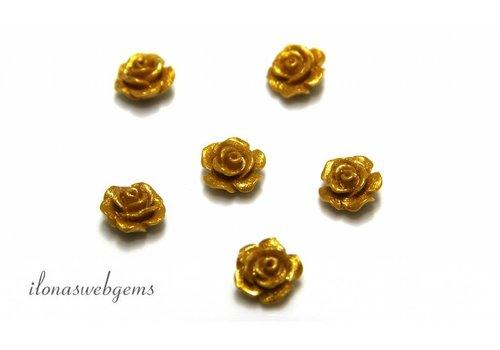 Koraal roosje goud ca. 10mm (kraal)