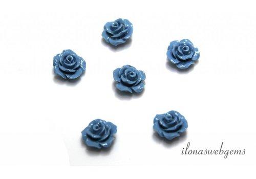 Koraal roosje licht blauw ca. 10x6mm (kraal)