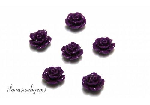 Koraal roosje paars ca. 10mm (kraal)