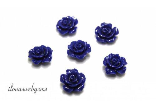 Koraal roosje donker blauw ca. 13x7mm (kraal)