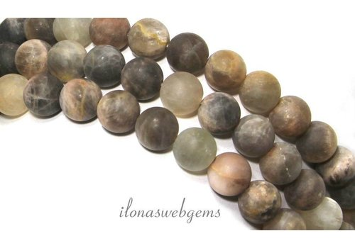 Black sunstone beads matt around 10mm