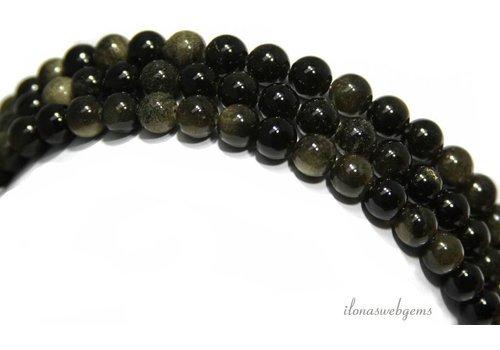 Obsidiaan kralen rond ca. 10mm