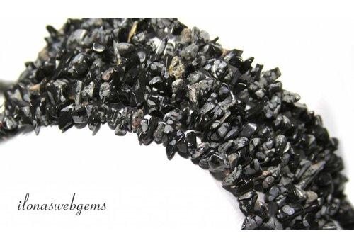 Snowflake Obsidiaan split kralen ca. 7mm