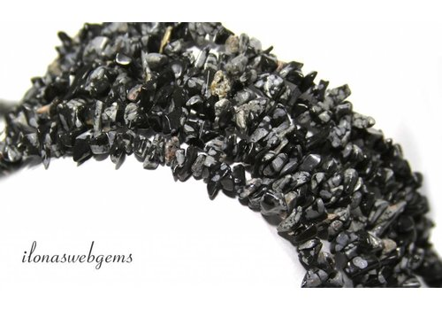 Snowflake Obsidian split beads around 7mm