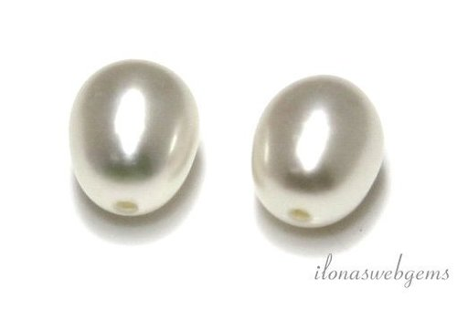 1 pair of freshwater pearls half pierced approx. 9-9.5mm