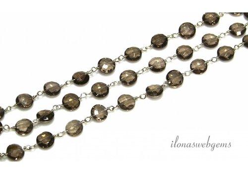 10cm Sterling Silber Halskette mit Perlen Rauchquarz