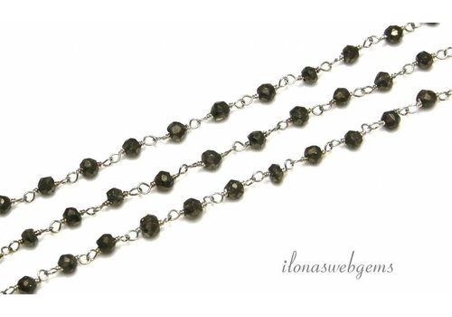 10cm Sterling silver necklace with beads Pyrite