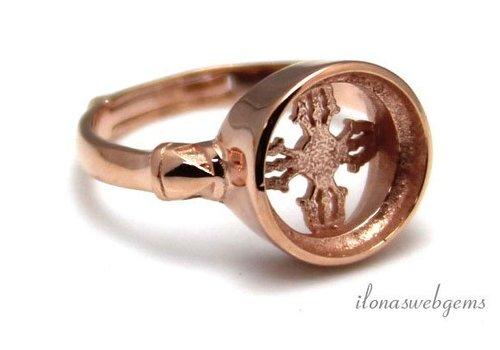 Rosé vermeil ring for cabochon 10mm