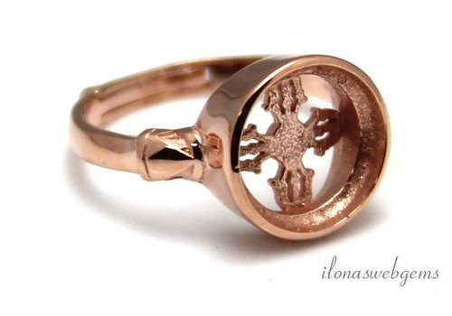 Rosé vermeil ring voor cabochon 10mm