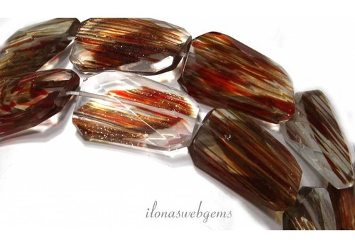 Goldstone-Facet Perlen ca. 30x8mm