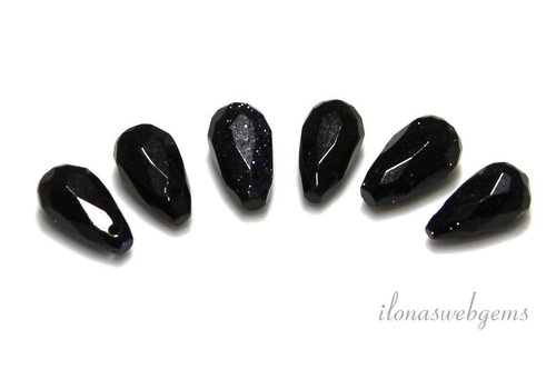 6 pcs blue goldstone facet drops approx. 10x6mm