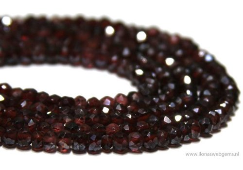 1cm Garnet beads facet round about 4x2.5mm A quality