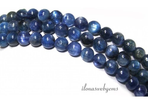 Kyanite beads round dark about 5.5mm A quality