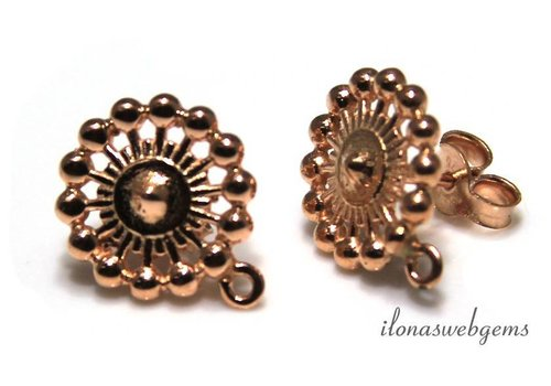 Rosé Vermeil ear studs approx. 13x16mm