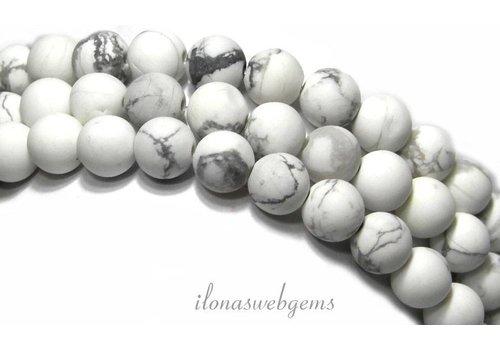 Howliet kralen wit mat rond ca. 6mm