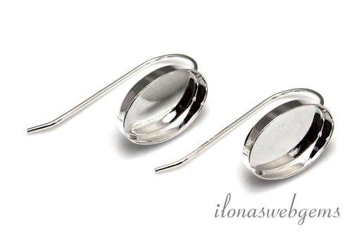 1 paar Sterling zilveren oorbelhaakjes voor cabochon 14x10mm