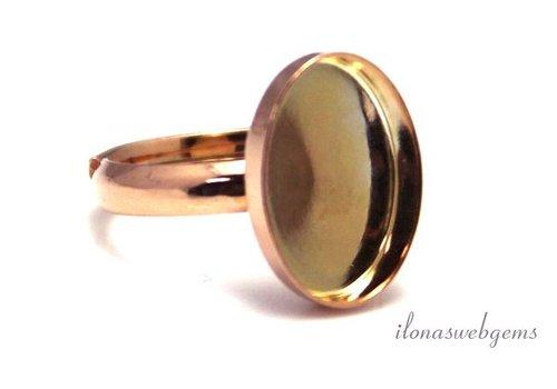 Rosé vermeil ring voor cabochon 14x10mm