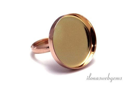 Rosé vermeil ring voor cabochon 20mm