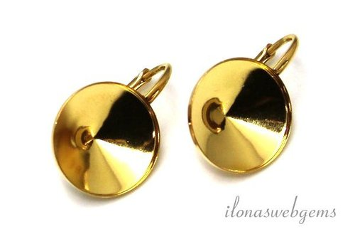 1 pair of Vermeil ear rings for cabochon 14mm