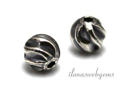 Sterling Silber Perle etwa 8 mm oxidiertes