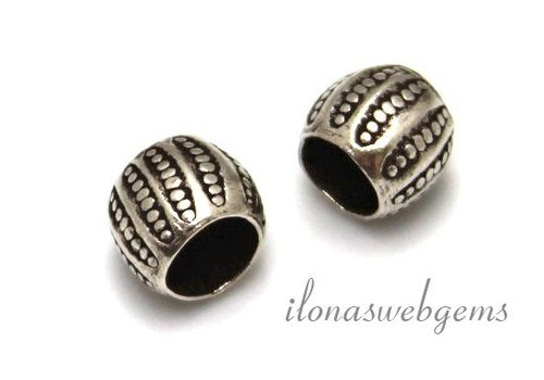 Sterling Silver Hill Tribe bead with big row hole
