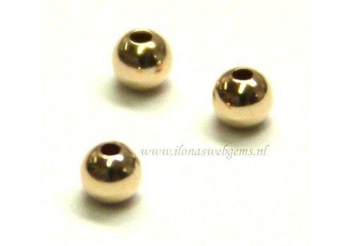 Gouden 14 karaat kraaltje ca.2mm light