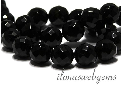 Onyx beads large facet approx. 16mm