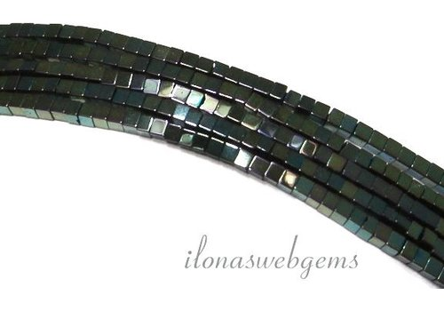 approx. 190 pieces Hematite beads mini blue-green around 2mm