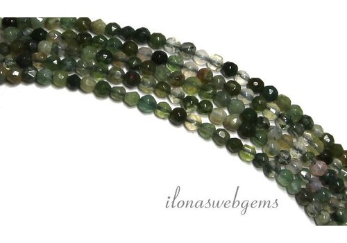 Moss agate beads faceted mini round about 2.3mm