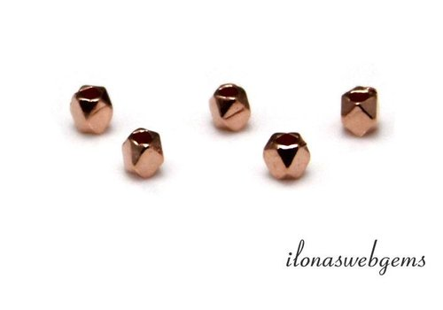 Rosé vermeil bead 'mirror beads' approx 2.8x2.4mm