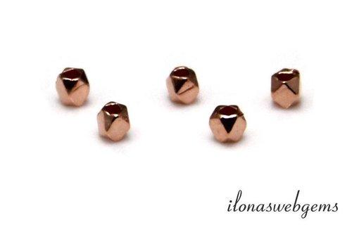 Rosé vermeil kraal 'mirror beads' ca. 2.8x2.4mm