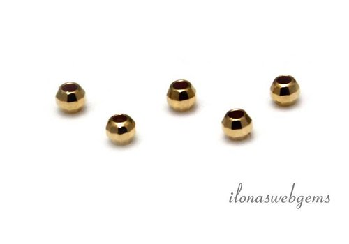 Vermeil kraal 'mirror beads' ca. 3mm