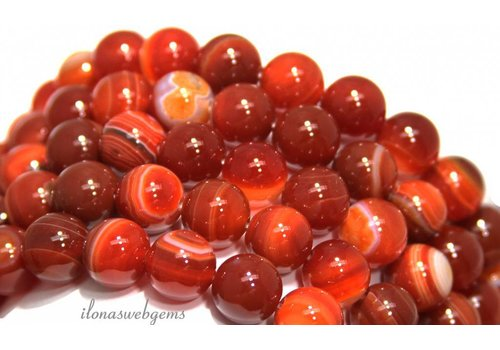 Red stripe Agate beads around 12mm
