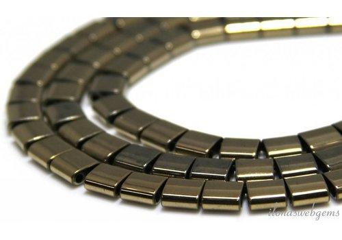 Hematite beads warm gold 6.5x6x3mm