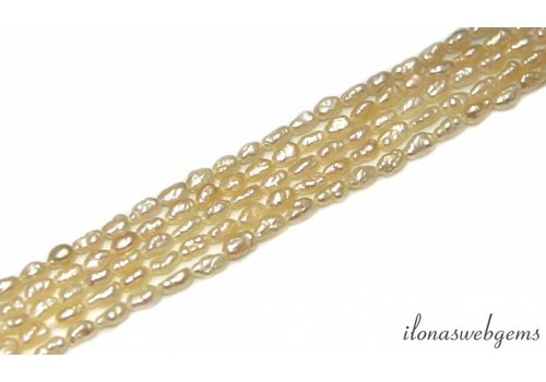 Rice pearls freshwater salmon about 5x3mm