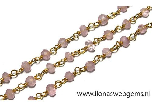 10cm vermeil necklace with beads Rose Quartz