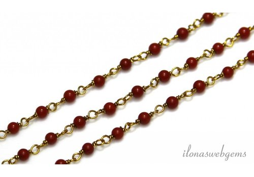 10 cm vermeil necklace with beads red coral