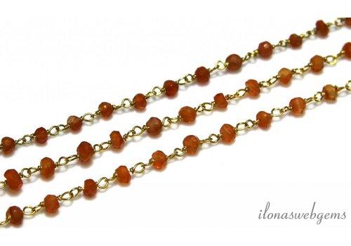 10 cm Vermeil Halskette mit Perlen Carneool