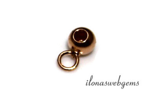 Rosé vermeil bead 4mm with eye and hole