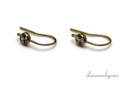 1 pair 14k / 20 Gold filled ear hook with clear CZ