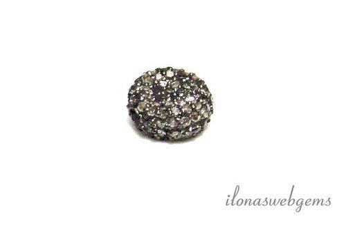 Sterling Silber Perle mit Diamanten ca. 10x5mm
