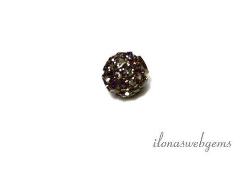 Sterling Silber Perle mit Diamantscheiben 6 mm ca.