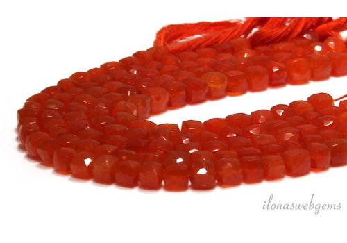 Carnelian beads faceted cube about 7x7x7mm